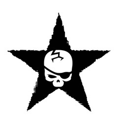 White skull on black star military symbol vector