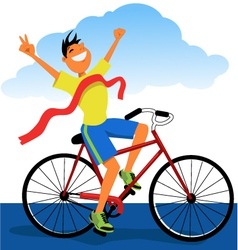 Winner on a bike vector image