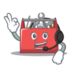 With headphone tool box character cartoon vector