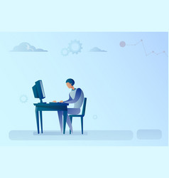 abstract business man sitting at office desk vector image