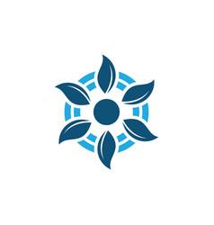 circle leaf business logo vector image vector image