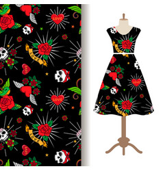 dress fabric pattern with funny tattoo vector image vector image