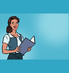 female secretary african american pop art vector image