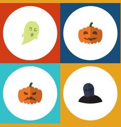 flat icon celebrate set of tomb phantom pumpkin vector image vector image