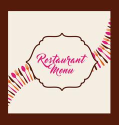 menu restaurant with cutlery set vector image vector image