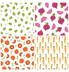 Mixed vegetables seamless patterns set 2 vector image