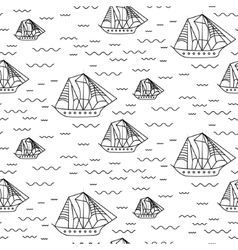 Sailing ship seamless outline pattern in vector image