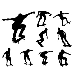 skateboarders silhouettes vector image
