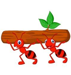 Team of ants cartoon carries log vector image vector image