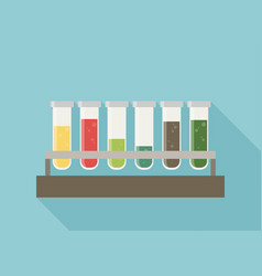 Five multicolor test tubes with green blue orange vector