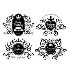 Retro Black Bakery Logo Labels Set vector image vector image
