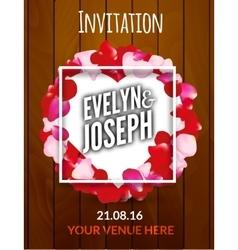 Rose petals circle Beautiful wedding invitation on vector image