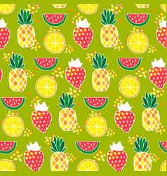 seamless pattern with pineapples strawberries vector image