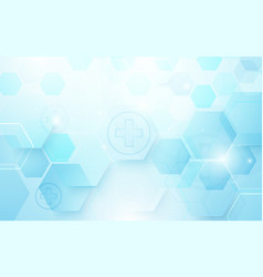 abstract blue hexagons shape and lines vector image vector image