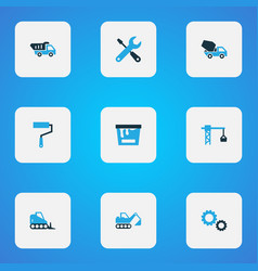 building icons colored set with bulldozer wall vector image vector image