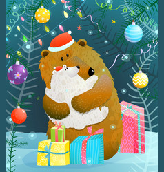 christmas or new year bear and cub greeting card vector image vector image