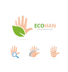 set of hand logo combination arm and eco symbol vector image