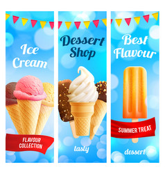 banners set for ice cream dessert shop vector image