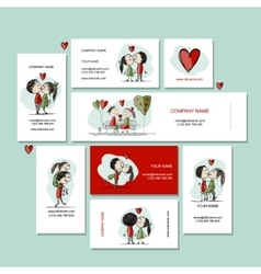 Couple in love kissing cards for your design vector image