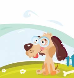 dog in the garden vector image