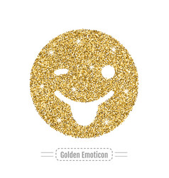 gold emoticon is winking and smiling is showing vector image vector image
