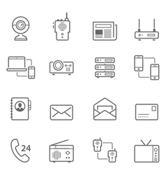Lines icon set - communication devices vector image vector image