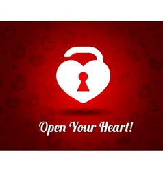 white heart with a keyhole vector image vector image