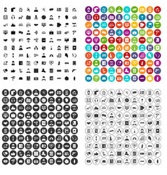 100 assistant icons set variant vector
