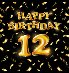 12 happy birthday message made golden vector