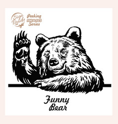 a bear waves cheerfully friendly grizzly looks vector image