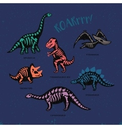 Adorable card with funny dinosaur skeletons vector