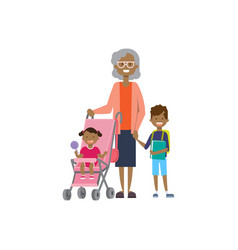 african grandmother with baby grandchildren in vector image