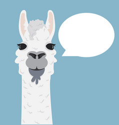 Alpaca lama portrait with speech bubble vector