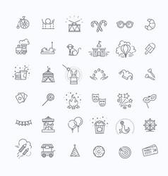 amusement park sings set thin line art icons vector image vector image