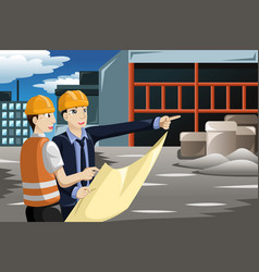 architect working at the construction site vector image
