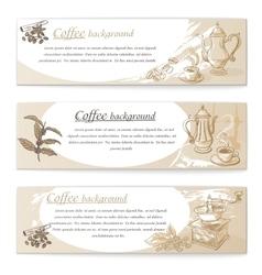 banner set vintage coffee backgrounds vector image