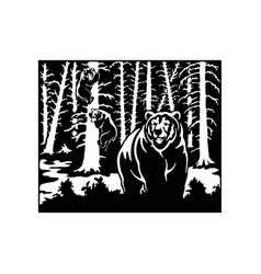 Bear grizzly bear - forest landscape wildlife vector