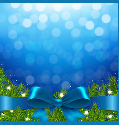 blue xmas background with bow vector image vector image