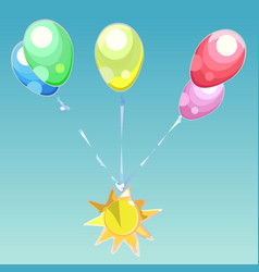 Bouquet of colorful balloons with the emblem of vector