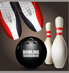 bowling shoes skittles and ball - bowling vector image