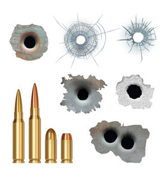 bullets realistic damaged cracked gun holes vector image
