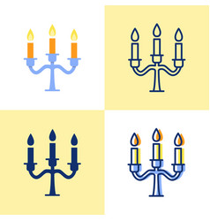 candelabrum with candles icon set in flat and line vector image