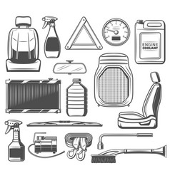 Car spare parts and tools maintenance service vector