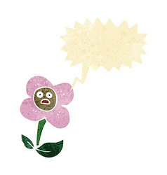 cartoon flower with face with speech bubble vector image