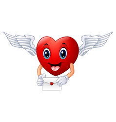 cartoon heart holding an envelope vector image