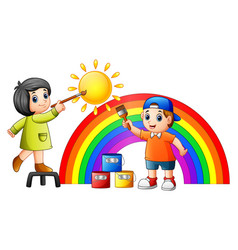 Cartoon kids painting rainb vector