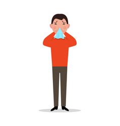 cartoon man caught cold sneeze ill flu vector image