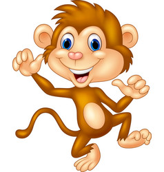 cartoon monkey waving vector image