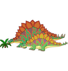 Cartoon stegosaurus with her baby vector