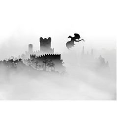 castle on top mountain with forest under vector image